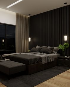 Black Master Bedroom, Black Bedroom Design, Fancy Bedroom, Master Bedroom Interior, Room Design Bedroom, Home Decor Bedroom, Modern Luxury Bedroom, Luxury Bedroom Design, Luxurious Bedrooms