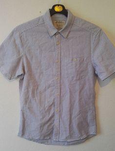 Burton Mens Casual Shirt Short Sleeve Striped Light Blue Button Up Size M VGC