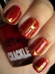 Image detail for -red and gold nail design 10 Crackle nail polish design ideas