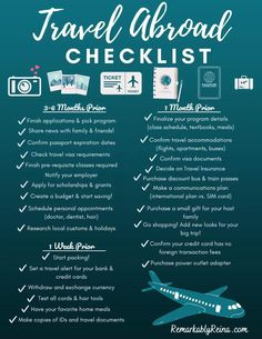 Are you planning on studying abroad? Make sure your prepared with this planning checklist. Keep on track to make sure your trip is unforgettable! Traveling Abroad Checklist, Study Abroad Packing, Travel Checklist, Travel Abroad, Travel Tips, Dorm Checklist, Road Trip Packing List, Packing Tips For Vacation, Vacation Trips