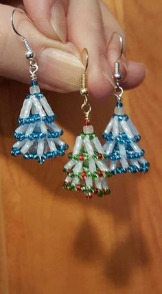 Little Beaded Trees Christmas Tree Earrings, Beaded Christmas Ornaments, Christmas Jewelry, Seed Bead Jewelry, Bead Jewellery, Jewlery, Beaded Jewelry Patterns, Beading Patterns, Beaded Crafts
