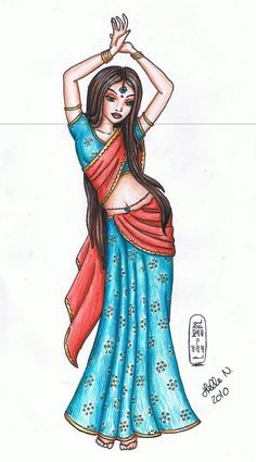 cute drawing of an indian girl