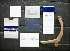 Blue velvet wedding invites by Ribbons & Bluebirds - winter wonderland wedding - Featured by Wedding Chicks July 2013