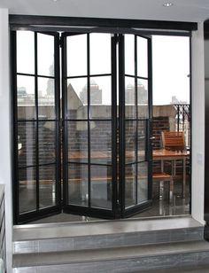 Advantages of Installing Folding Doors - Steel Windows and Doors USA Design Garage, Door Design, House Design, Steel Windows, Steel Doors, Glass Garage Door, Glass Doors, Garage Door Windows, Balcony Doors
