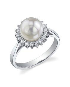 White Akoya Pearl & Diamond Solar Ring