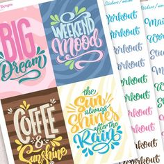 Calligraphy Planner Stickers I. - - for Happy Planner and Erin Condren Life Planner, Happy Planner, Calligraphy Quotes, Permanent Marker, Keep In Mind, Gel Pens, Erin Condren, Sharpie, Planner Stickers
