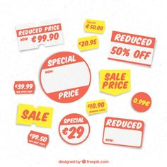 Selection of price labels for a store Fr. Price Labels, Halloween Labels, Food Stickers, Back To School Sales, Price Sticker, Sale Banner, Label Templates, Magazine Template, Products