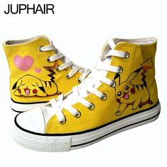 (31.05$)  Know more - http://aiexc.worlditems.win/all/product.php?id=32721117042 - JUP Shoes Men Males's Boy's Anime Pikachu High Style Canvas hand-painted Shoes Espadrilles Rubber Boots Zapatos Mujer Mens Sales