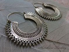 Tribal Hoop Earrings Indian Brass Earrings by ShankaraTrading