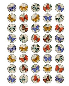 butterfly 1 inch round images Printable Download Digital by 300dpi, $4.00