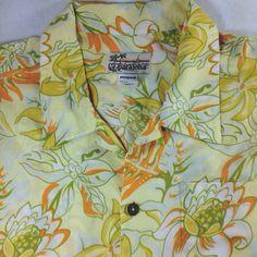 Patagonia Pataloha Hawaiian Shirt Size XL Yellow & Orange Tropical Flower Print  #Patagonia #Hawaiian