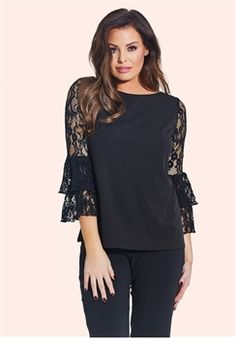 faf6383ac285d9 Jessica Wright Carmel Black Frill Sleeve Top This classic black top can  dress up a pair of jeans or look super chic with black trousers. The lace  frill ...