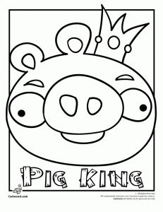 Angry Birds King Pig coloring page. Looks like math-aids took the free graphing puzzles off their site so I'll have to make my own from these coloring pages.