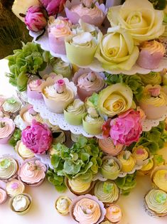 Tower of Cupcake flowers...