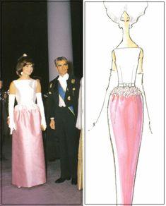 Abito bianco e rosa in Jackie a incontro Shah di Iran Mohammad Reza Pahlavi con moglie Farah Diba