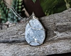 LARGE Celestite Necklace, Geode Necklace, Blue Stone Jewelry, Crystal Necklace, Crystalized Quartz Pendant, Wire Wrapped Gemstone Jewelry