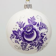 Gzhel Patterns Ball Christmas Ornament - This Christmas ball ornament is perfect for any interior, featuring wonderful Gzhel painting (blue pattern on a white background), which is one of the most famous Russian folk arts.