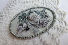 Gray vintage inspired victorian style romantic floral brooch one of a kind handmade textile jewelry with ribbon embroidered roses and beads by Virvi on Etsy