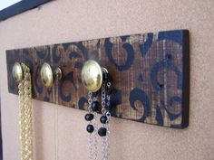 Stenciled Wood  Peg Rack  Jewelry Organizer by HartleyRowe on Etsy