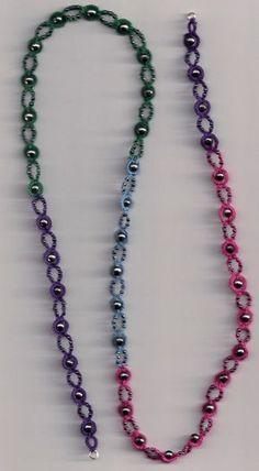 Tat's Heaven - Sally Kerson (JTat's Heaven: Trains and PlanesPearl Tatted Bracelet from Joan's Portal - Tatting - Simple yet elegant bracelet ! Tatting Necklace, Tatting Jewelry, Beaded Jewelry, Beaded Necklace, Beaded Bracelets, Necklaces, Crochet Bracelet, Bead Crochet, Crochet Earrings