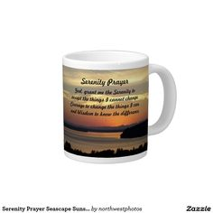 Serenity Prayer Seascape Sunset Photo 20 Oz Large Ceramic Coffee Mug