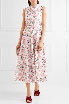 Emilia Wickstead - Fabiola Floral-print Cloqué Midi Dress - Pink - UK