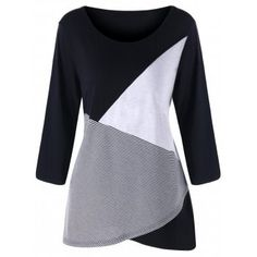 070585cb0e Plus Size O Neck Patchwork Top Spring T-Shirt Casual T-Shirts Women T Shirts  Large Size Lady Tops Cotton Clothing