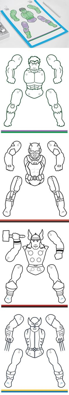 Create your own Superhero puppets. Color them the way you want them. Great papercrafts for kids!: