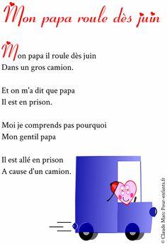 poèmes pour papa fete des papas à imprimer gratuit poeme pour papa Prison, Ms Gs, Fathers Day Poems, Big Trucks, Texts, Children