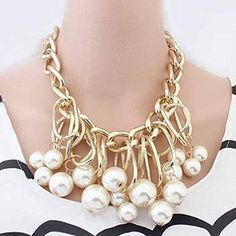 * Penny Deals * - Hot Chunky Imitation pearrl Tassel Statement neecklace Charms Choker Chaiin JWLRY * Want additional info? Click on the image.