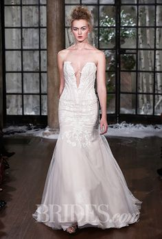 "Brides.com: . Trend: Deep V. ""Nantes"" strapless trumpet wedding dress with metallic chiffon underlay, Guipure lace accents, and a plunging v-neckline, Ines Di Santo"
