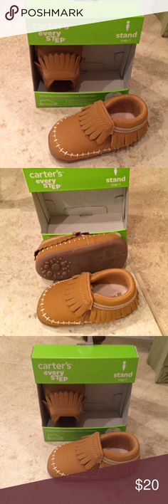 Carters UniSex Moccasins Man made faux suede with fringe detail. Pull on construction. Cream detailing. Carter's Shoes Moccasins