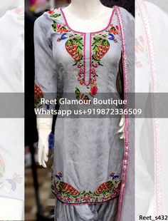 Captivating Gray Embroidered Punjabi Suit (Price:2500) on pure glace cotton To Order, Call/Whats app On +919872336509 We Offer Huge Variety Of Punjabi Suits, Anarkali Suits, Lehenga Choli, Bridal Suits,Sari, Gowns Etc .We Can Also Design Any Suit Of Your Own Design And Any Color Combination.
