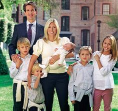Greek Royal Family.  Crown Prince Pavlos and Princess Marie-Chantel with their family.