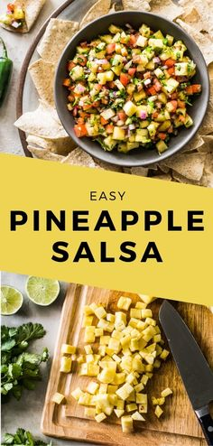 This Pineapple Salsa only requires 6 ingredients and 15 minutes to make. It's the perfect appetizer to serve with tortilla chips and is delicious on tacos and grilled meat! Appetizer Recipes, Dinner Recipes, Appetizers, Mexican Salsa Recipes, Vegan Recipes, Cooking Recipes, Delicious Recipes, Tacos, Pineapple Salsa