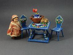 Vintage German Bauernmalerei Bavarian Dollhouse Furniture