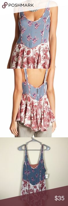 "=FREE PEOPLE= FLORAL BOHO TUNIC  TANK TOP M FREE PEOPLE-NWT-NEVER WORN MINT. - Sleeveless - Back partial button closure - Ruffle hem - Allover print PIT TO PIT 17"" LENGTH 30"" I HIPPIE,BOHO,GYPSY,URBAN OUTFITTERS,FESTIVAL Free People Tops Tank Tops"
