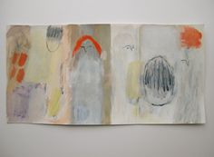 cathy cullis - gouache + acrylic 3-page concertina book - whispers