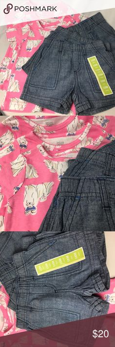 Triplets bundle.  Six pieces Pink top denim shorts Dog print and pink tops with short layers sets for triplets. Size 12 months.  Brand new without tags.  Pet free smoke free home. just one Matching Sets