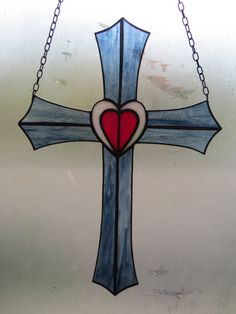 Stained glass cross hanging panel with heart