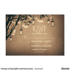 vintage string lights and mason jars RSVP Card Vintage wedding rsvp card with fireflies mason jars and twinkle lights hanging on the tree branches.