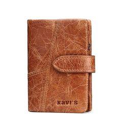 KAVIS New 100% Genuine Leather Men Wallets Famous Designer Small Short Men Wallets with Coin Zipper Male Mens Purses Card Holder