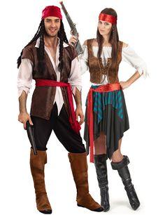 Disfraz de pareja de pirata de lujo: Disfraz para la mujer:Este disfraz de pirata para mujer se compone de una falda, un cinturón, un bustier, un chaleco y una cinta para el pelo. La falda está recubierta de tela color...