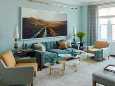 Turquoise | Living room sofa, Upper West Side, Manhattan, New York City (Nada Debs Pebble Table)