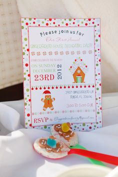 Gingerbread House Decorating Party Invitation by twinklelittleparty on Etsy, $18.50