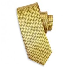 This gold silk tie with purple squares can be worn for any occasion and looks great with a blue or white shirt.