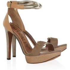 Lanvin Leather, suede and wood platform sandals ($415) ❤ liked on Polyvore featuring shoes, sandals, leather platform sandals, strappy platform sandals, wood heel sandals, high heel sandals and wooden heel platform sandals