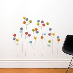 Xiangyang - Colorful dots flowers wall decal. $27.00, via Etsy.