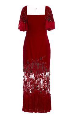 Fringed Crepe De Chine Dress by Marchesa | Moda Operandi