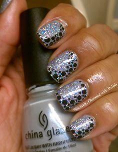 Pinned by www.SimpleNailArtTips.com SIMPLE NAIL ART DESIGN IDEAS -   Sincerely, Obsessed With Polish: Black Dots on Holographic Glitter #nails